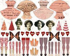 Ideas For Vintage Art Collage Paper Dolls Collage Sheet, Collage Art, Collages, Paper Puppets, Paper Toys, Vintage Paper Dolls, Vintage Art, Vintage Pink, Paper Art
