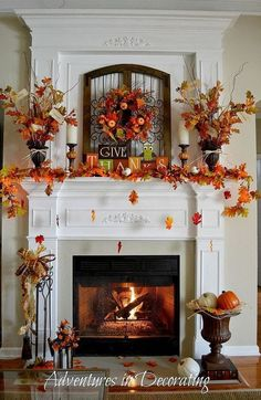 beautiful fall mantle & fireplace decor…the concept of falling leaves is too adorable. beautiful fall mantle & fireplace decor…the concept of falling leaves is too adorable. Decoration Evenementielle, Fall Mantel Decorations, Mantel Ideas, Mantels Decor, Halloween Decorations, Table Decorations, Thanksgiving Decorations Outdoor, Turkey Decorations, Christmas Decorations