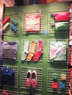 American Apparel accessories display in Seoul, Korea store. Baby Store Display, Shoe Display, Visual Display, Jewellery Display, Display Window, Retail Wall Displays, Craft Show Displays, Display Ideas, Fashion Displays