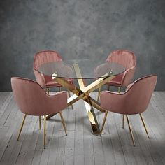 New Dining set round glass table with gold legs and 4 pink velvet dining chairs Dining Furniture Sets. offers on top store Dinning Set, Dining Chair Set, Dining Room Design, Dining Area, Dining Furniture Sets, Colorful Chairs, Glass Table, Glass Dinning Room Table, Modern Dining Table