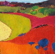 Jill Finsen - Cow Pasture Field One Abstract Landscape Painting, Landscape Art, Landscape Paintings, Abstract Art, Matisse, Painting & Drawing, Knife Painting, Paintings I Love, Naive Art