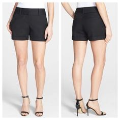 """Vince Camuto Flat Front Stretch Cotton Shorts Essential tailored shorts, soft, polished stretch cotton, wide waistband and cuffed hems. Impressive quality wash and wear shorts, with a zip fly, hook and bar closure, and inside button. Belt loops, front slant pockets, and back welt pockets. Dress them up with a blouse and heels or go casual with flats and a tee, wear-anywhere perfection.   Approximate measurements 15"""" waistband, 8.5"""" front rise, 14.5"""" back rise, 3.5"""" inseam  98% cotton 2%…"""