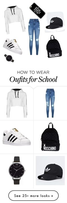 #OOTD for school by luxuriousbaderca on Polyvore featuring Lipsy, Topshop, adidas, Moschino, Casetify and Olivia Burton
