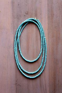 Aqua 60-inch Long Beaded Necklace