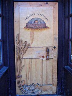 American Flatbread door (est. 1985) entry 115 Saint Paul Street, Burlington, Vermont - Beautiful carved wheat detail
