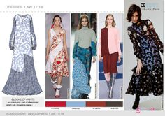 FW 2017-18 trend forecasting- Development - DRESSES: blocks of prints