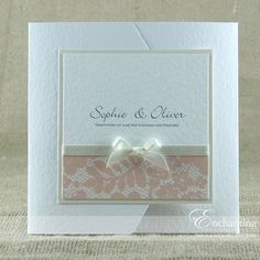 The Belle Collection - Pocketfold Invitation | Available in any colour | Luxury handmade wedding invitations and stationery by Enchanting | ribbon classic bow | lace paper | blush pink cream white