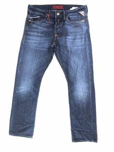 REPLAY WAITOM dark blue denim jean STRAIGHT SLIM LEG button fly w32  L32  a3ea5d60f9cc