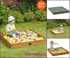 Wooden Sand Pit Balls Cover Table Kids Outdoor Play Games Toddler Garden Sandpit