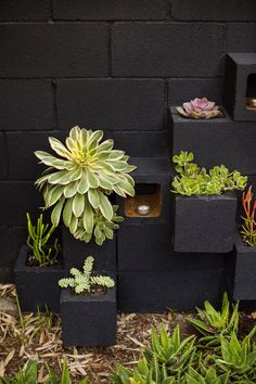 Creative cinder block backyard ideas on a budget 26 Cinder Block Walls, Cinder Block Garden, Cinder Blocks, Small Backyard Landscaping, Backyard Patio, Backyard Ideas, Patio Ideas, Patio Fence, Sloped Backyard