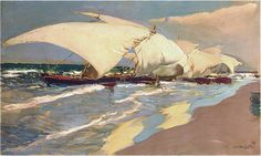 valencian-boats-1908 Joaquín Sorolla y Bastida (27 February 1863 – 10 August 1923) was a Valencian Spanish painter.
