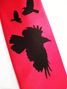 Red mens necktie black bird design crows ravens by RokGear