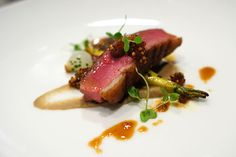 ROASTED DUCK BREAST | heirloom parsnips, raisin mostarda & lentils at Scarpetta.