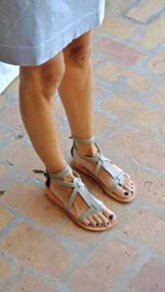 grecian sandals by Valia Gabriel (handmade in Crete) Leather Sandals, Shoes Sandals, Heels, Lace Up Gladiator Sandals, Sandals Outfit, Flat Sandals, Cute Shoes, Me Too Shoes, Looks Style