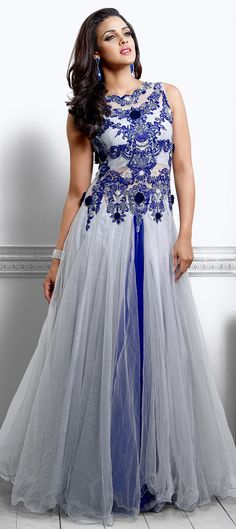 423691: Black and Grey, Blue color family stitched gown.
