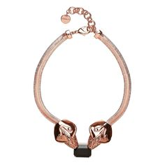 Mimco Ophis Chain and Crystal Necklace - Rose Gold and Onyx