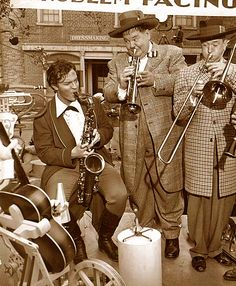 Orson Welles jamming with Laurel and Hardy