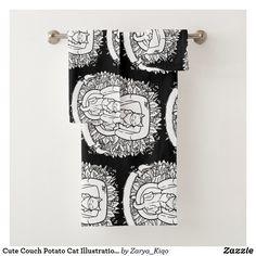 Cute Couch Potato Cat Illustration Bath Towel Set Bath Towel Sets, Bath Towels, Potato Cat, Decorative Leaves, Animal Totems, My Spirit Animal, Cute Illustration, Artwork Design, Print Design