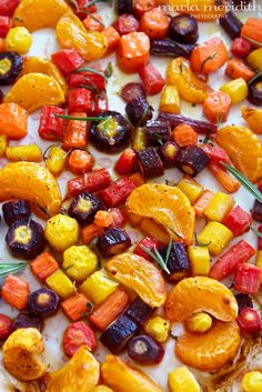 Mandarin Roasted Rainbow Carrots | #vegan #recipe