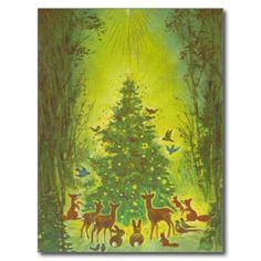 Christmas Greetings Gathering around a tree_1950 Postcards