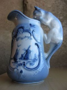 antique porcelain Blue Delft milk pitcher jug cat handle, windmill,sailboat - Поиск в Google