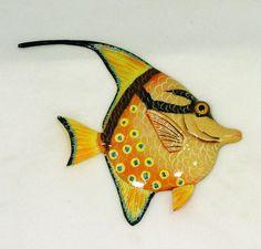 Tropical Bright Blue Dot Orange Angel Fish Hanger Wall Plaque