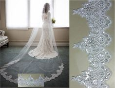 1 Layer Lace Edge Sequins  Bridal Long Veil Cathedral Wedding Bridal Veil