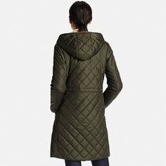 Quilted padding and a boa fleece lining create a super-warm coat!<br>- Fuzzy boa fleece wraps you in comfort and warmth.<br>- Quilted padding for added insulation.<br>- Glossy shell and diamond stitching create an elegant, feminine style.<br>- Taped hems on the placket and sleeves add a fashionable touch.<br>- Smooth fabric sleeve lining slips on and off easily.<br>- Wraps all the way down to the thighs for excellent protection from the cold.