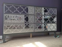 Moroccan inspired mirrored dresser makeover  Easy DIY use Jasmine O'verlays and mirror