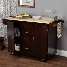 Mobilize your meal preparations with Simple Living Espresso/Natural Country Cottage Kitchen Cart. Built from MDF and veneer with a rubberwood top and metal hardware finish, this kitchen cart has a sim Rolling Kitchen Island, Kitchen Island Cart, Kitchen Tops, New Kitchen, Kitchen Dining, Kitchen Decor, Kitchen Carts, Kitchen Ideas, Kitchen Islands