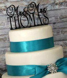 Personalized Custom Mr and Mrs Monogram Wedding Cake Topper