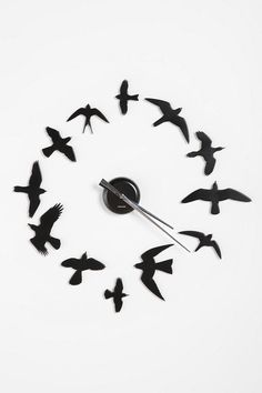 Black Bird Wall Clock -  Unique DIY wall clock you can arrange anywhere and any which way you like.