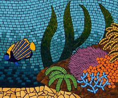 Coral Reefs mosaic wall mural created in ceramic tile by Brett Campbell Mosaics. Colourful underwater scene with clownfish, corals on a reef & sea grasses Mosaic Artwork, Mosaic Wall, Mosaic Glass, Mosaic Tiles, Glass Art, Stained Glass, Mosaic Mirrors, Sea Glass, Mosaic Crafts