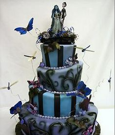 Halloween vow renewal cake in blue and black