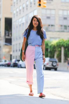 Two-toned and two hems: for when you can't make up your mind in the morning. #refinery29 http://www.refinery29.com/2016/09/120553/nyfw-spring-2017-best-street-style-outfits#slide-12