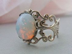 White Opal Ring With Rhodium Plated Filigree by pinkingedgedesigns (rings,opal rings,silver rings,silver opal rings)