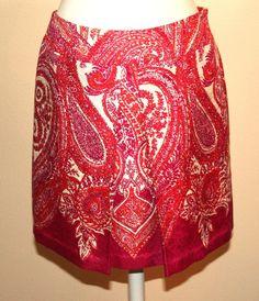 Ann Taylor Beautiful Cotton Silk Blend Paisley Print Skirt