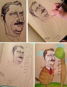 """Um dia, enquanto sua filha estava distraída desenhando, a ilustradora Mica Angela Hendricks decidiu arriscar a fazer algo novo no sketchbook que tinha encomendado. Colocou o primeiro rosto no papel e imediatamente sua filha de 4 anos disse: """"oooohhhh é um caderno novo, mamãe? Posso desenhar aí também?"""". E completou: """"Eu ia fazer um corpo para a cabeça da moça""""."""