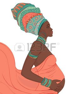 Young African American Mother pregnant isolated, vector illustration photo