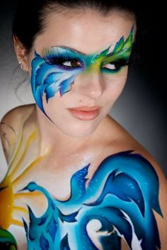 Blue green body paint.. Like the face