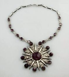 Necklace | William Spratling.  Sterling silver with amethysts.
