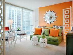 Paint walls - paint ideas for orange wall design