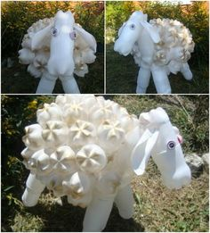 Cute white sheep made of painted plastic bottles