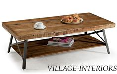 $270   Rustic Industrial Reclaimed Wood & Iron Metal Coffee Cocktail Table #Transitional