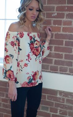 Floral off the shoulder top #ShopIVcollection #offtheshoulder #womensfashion