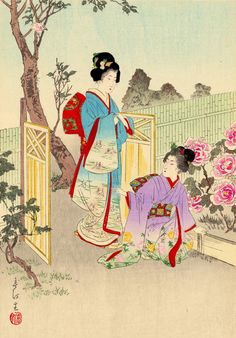 Miyagawa Shuntei (1873-1914) 宮川春汀 Viewing a Peony Garden, from the series Flowers of the Floating World, 1898 x