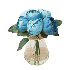 ElevinTM 1Bouquet 6 Heads Beautiful Artificial Peony Silk Flower Leaf Home Wedding Party Decor blue ** Want additional info? Click on the image. Note:It is Affiliate Link to Amazon.