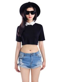 Black Crop Top With White Collar