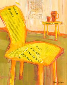 Yellow Chair  11x14 original mixed media painting on paper    Painting comes in a 16x20 matt - ready to frame, is varnished for protection, signed