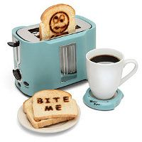 Pop Art Toaster.  This Retro looking toaster can send over 50 pre set messages and you can even make up your own. Now that could be fun!